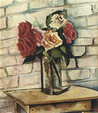a still life with roses in a glass vase by charley toorop