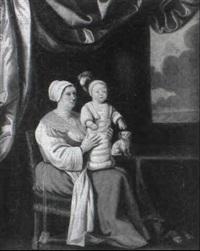 jeune mere et son enfant by le nain