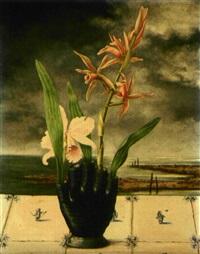 vase d'orchidées sur faïence de delft by cornelius postma