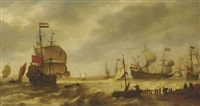 the departing dutch fleet at the mouth of a harbour by bonaventura peeters the elder