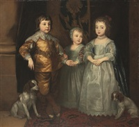 portrait of the three eldest children of king charles i by henry stone