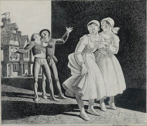two maidens and street singers by rockwell kent