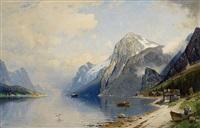 fjordlandschaft mit dampfschiff by carl bertold