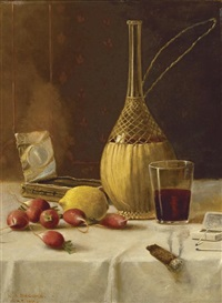 wine, glass and cigar on a table by nicholas alden brooks