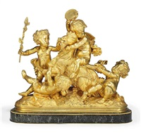 bacchic putti (from the model by albert-ernest carrier-belleuse) by raingo frères
