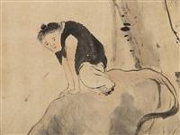 grazing bovine by lin jia