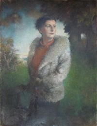 portrait of a woman in a fur coat by henry john lintott