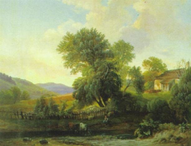 idyllische landschaft mit kühen und figürlicher staffage by joseph gerstmeyer