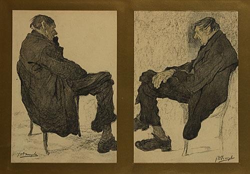 zittende oude mannen 2 works in 1 frame by jules de bruycker