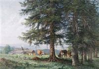 paturage boisé à la lisière de la forêt de la joux-perret by edouard jeanmaire