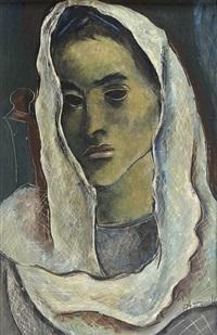 portrait de femme au voile blanc by georges artemov