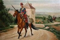 cavalier fusil en main sur une route de campagne by emmanuel grammont