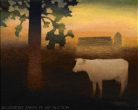 cow at dusk by gary ernest smith