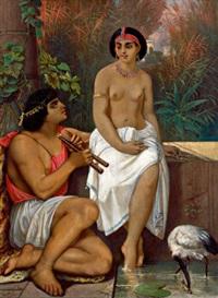 exotische szene mit einem jungen mann und einer halbnackten schönen by carl huth