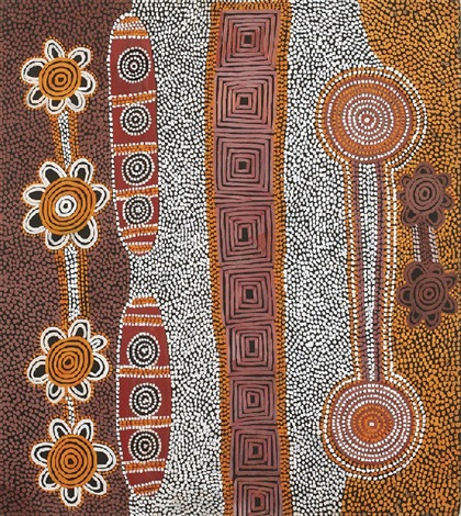mens corroboree dreaming in a cave by anatjari tjakamarra