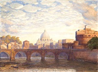roma, veduta dal tevere a castel sant'angelo by max roeder