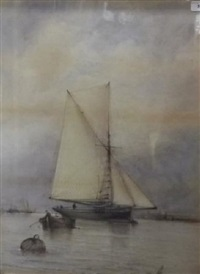 a lugger at anchor by albert markes