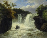 landscape with waterfall by james burrell smith