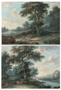 paysages à la rivière et aux bois (pair) by louis nicolas van blarenberghe