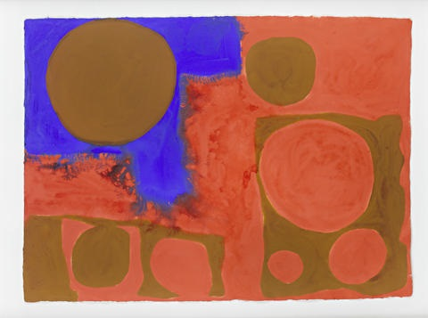 red brown and ultramarine april by patrick heron