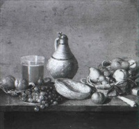 still life with stoneware jug, a beer glass, apples... by pieter van steenwyck