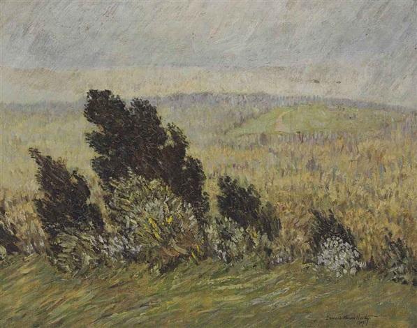the cedar hedge spring breezes and rains chestnut hill boston massachusetts by marsden hartley