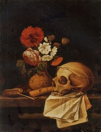 a vanitas still life with a skull, flowers in a vase, an haliotis, a flute and pages from le miroir des plus belles courtisannes de ce temps by johannes borman