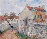 rue à pissefontaine à triel-sur-seine (yvelines) by gustave loiseau