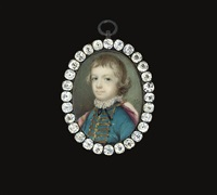 a boy, in turquoise coat with gold frogging and gold buttons by samuel cotes