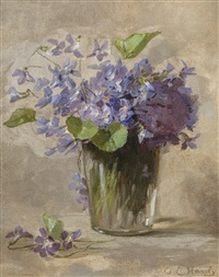 still life of violets by anna eliza hardy