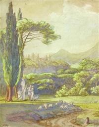 paysage antique avec une scène pastorale by françois jean (jean françois) sablet