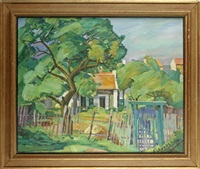 the garden gate; and terraced cottagess (2 works) by paul fredureau