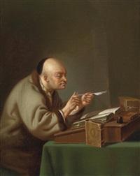 ein gelehrter am schreibtisch, seine feder spitzend (+ ein lesender gelehrter; pair) by justus juncker