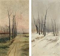 paisaje de otoño; paisaje de invierno (2 works) by ramiro lafuente