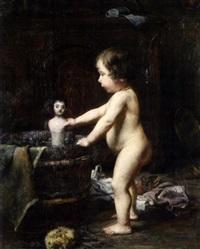 petite fille lavant sa poupée by marius barthalot