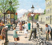 livligt gadeliv på christianshavns torv ved siden af kvindefængslet, hvor lagkagehuset ligger i dag. lively street life at christianshavn torv, to the right the women's prison, today lagkagehuset (the layer cake house), copenhagen by paul gustave fischer