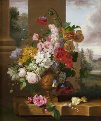 still life of summer flowers by john wainwright