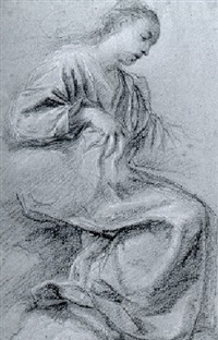 the seated virgin, in profile to the right by fra semplice da verona