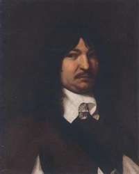 portrait of a gentleman in a brown coat with a white collar by jürgen ovens