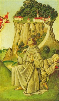 saint francis receiving the stigmata with silvester resting on a rock by bartolomeo di giovanni