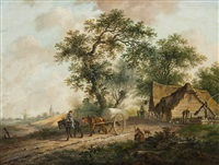 landscape with a horse and cart by fredericus theodorus renard