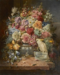 a still life with roses, irises, hollyhocks and other flowers along with butterflies and a cockatoo by hans zatzka