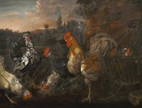 hens and roosters in a landscape by catharina ijkens