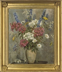 delphinium, hydrangea and daisies in a vase, on a wooden table by kathleen lloyd