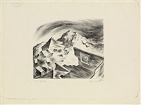 desolate landscape (the lithograph and drawing) (pair) by hughie lee smith