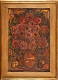 kwiaty w glinianym dzbanie (cynie) by emil krcha