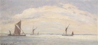 sailing boats on a calm day (+ another; 2 works) by hugh boycott-brown