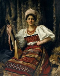 portrait of anne in russian costume, holding a balalaika by thomas benjamin kennington