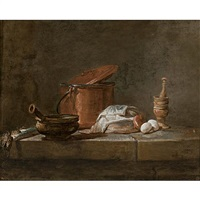 still life with leeks, a casserole and a cloth by jean baptiste siméon chardin
