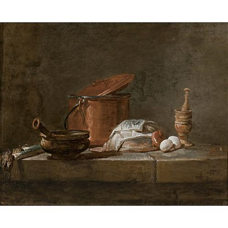still life with leeks a casserole and a cloth by jean baptiste siméon chardin